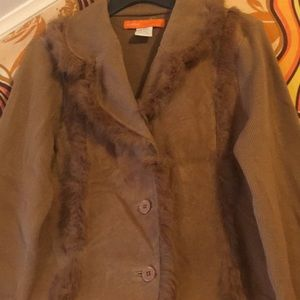 Cynthia Steffens fur trimmed suede sweater/jacket.